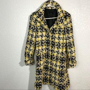 Zara Woman Yellow Black Tweed Wool Coat Small